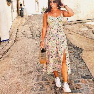 Zara Floral Midi Dress Sz XS